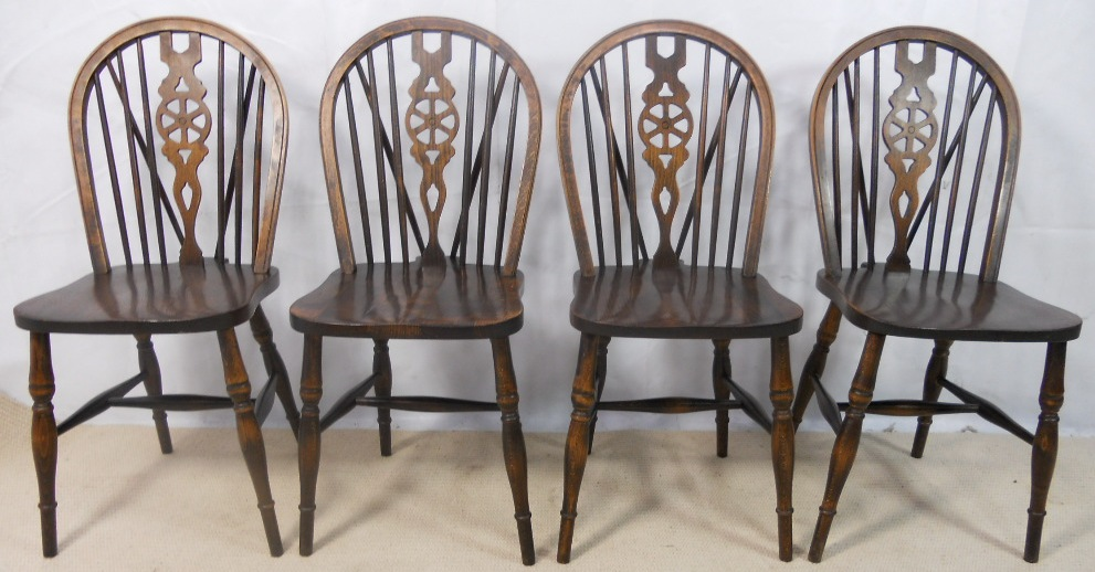 Set Of Four Antique Style Wheelback Kitchen Dining Chairs By Webber  Furniture   SOLD